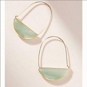 Anthropologie crescent Stone hoop earrings